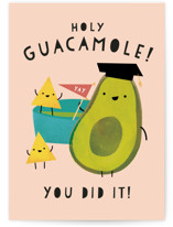 This is a pink graduation card by Lori Wemple called Holy Guacamole with standard printing on signature in greeting cards.