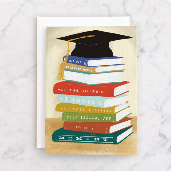 """""""Grad Book Stack"""" - Individual Graduation Greeting Cards in Oat by Shiny Penny Studio."""