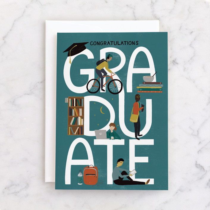 """""""Graduation Icons"""" - Individual Graduation Greeting Cards in Teal by Shiny Penny Studio."""