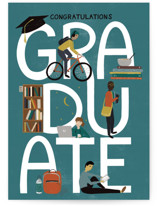 This is a blue graduation card by Shiny Penny Studio called Graduation Icons with standard printing on signature in greeting cards.
