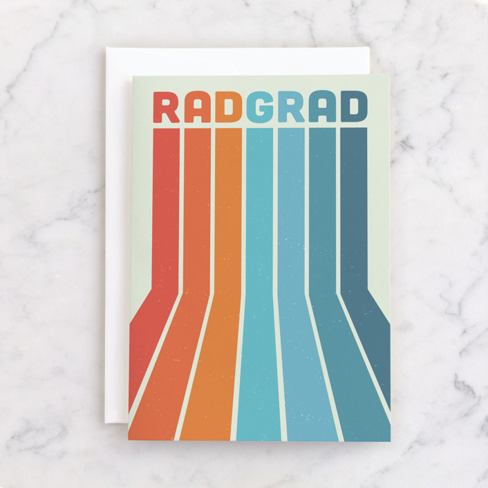 """rad grad"" - Individual Graduation Greeting Cards in Mint by Tennie and Co.."