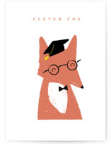 This is a orange graduation card by Angela Thompson called clever fox with standard printing on signature in greeting cards.