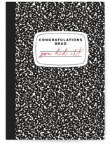 This is a black graduation card by Alexandra Cohn called Composition Book with standard printing on signature in greeting cards.