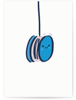 This is a blue graduation card by Lori Wemple called YoYo with standard printing on signature in greeting cards.