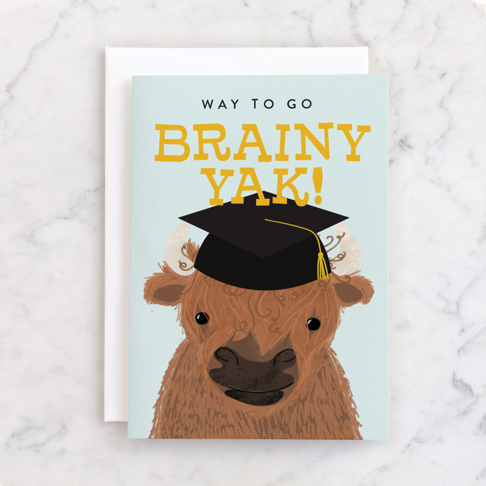 """""""Brainy Yak Graduate"""" - Individual Graduation Greeting Cards in Sunny by Itsy Belle Studio."""