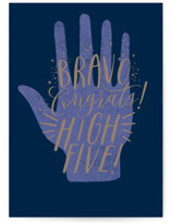 This is a blue graduation card by Karidy Walker called bravo high five with standard printing on signature in greeting cards.