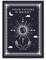 This is a blue graduation card by Caitlin Considine called Bright Future. with standard printing on signature in greeting cards.