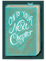 This is a green graduation card by Blue Ombre co called The Next Chapter with standard printing on signature in greeting cards.