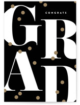 This is a black graduation card by Robert and Stella called Grad Confetti with standard printing on signature in greeting cards.