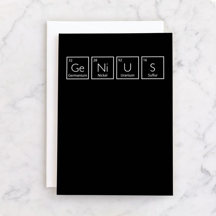 """Genius"" - Individual Graduation Greeting Cards in Inky by Heather Schertzer."
