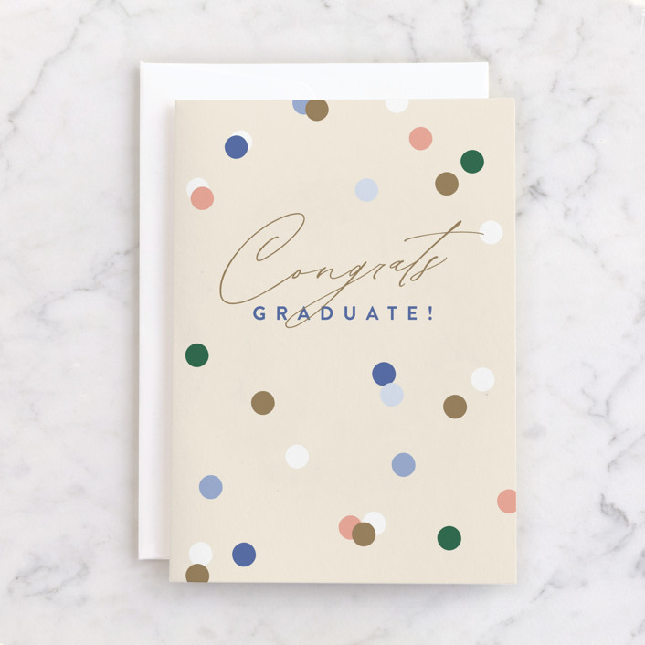 """""""Confetti Grad"""" - Individual Graduation Greeting Cards in Eggshell by Pixel and Hank."""