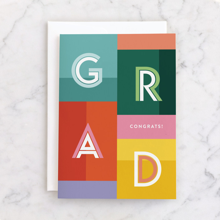 """""""Bold Grad"""" - Individual Graduation Greeting Cards in Colorful by Pixel and Hank."""