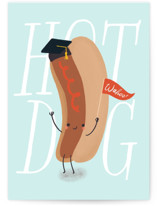 This is a blue graduation card by Itsy Belle Studio called Hot Dog Grad with standard printing on signature in greeting cards.