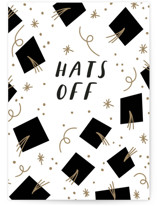 This is a white graduation card by Angela Garrick called Hats off with standard printing on signature in greeting cards.