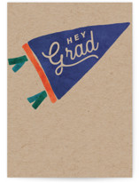 This is a brown graduation card by Susan Zinader called grad pennant with standard printing on signature in greeting cards.