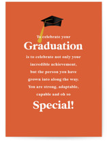 This is a orange graduation card by Ashlee Townsend called Celebrating You with standard printing on signature in greeting cards.