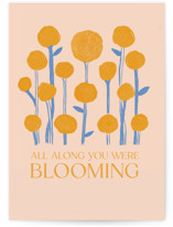 This is a pink graduation card by Gina Grittner called Blooming All Along with standard printing on signature in greeting cards.