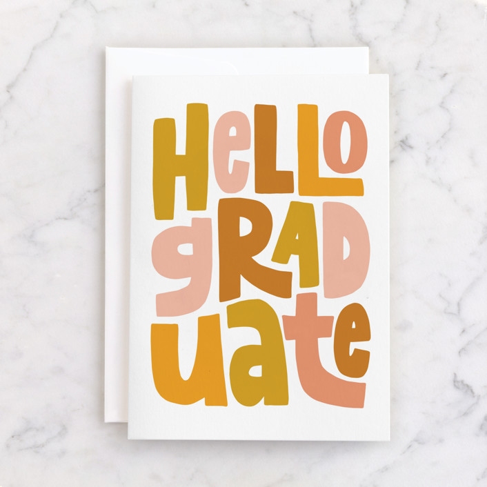 """Hello Graduate"" - Individual Graduation Greeting Cards in Ochre by Alicia Schultz."