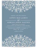 This is a blue gloss press wedding invitation by Melanie Kosuge called EMERY with gloss-press printing on signature in standard.