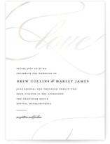 This is a black and white gloss press wedding invitation by Stacey Meacham called So in Love with gloss-press printing on signature in standard.