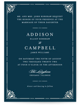 This is a blue gloss press wedding invitation by Bethan called Victorian Frame with gloss-press printing on signature in standard.