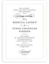 This is a black and white gloss press wedding invitation by Kimberly FitzSimons called Eloquence with gloss-press printing on signature in standard.
