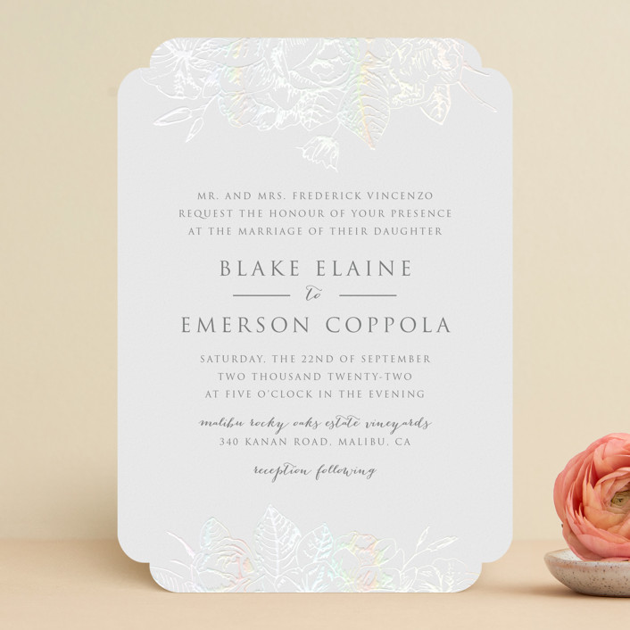 """""""Gilded Wildflowers"""" - Gloss-press® Wedding Invitation in Cool Grey by Rochelle Renee."""