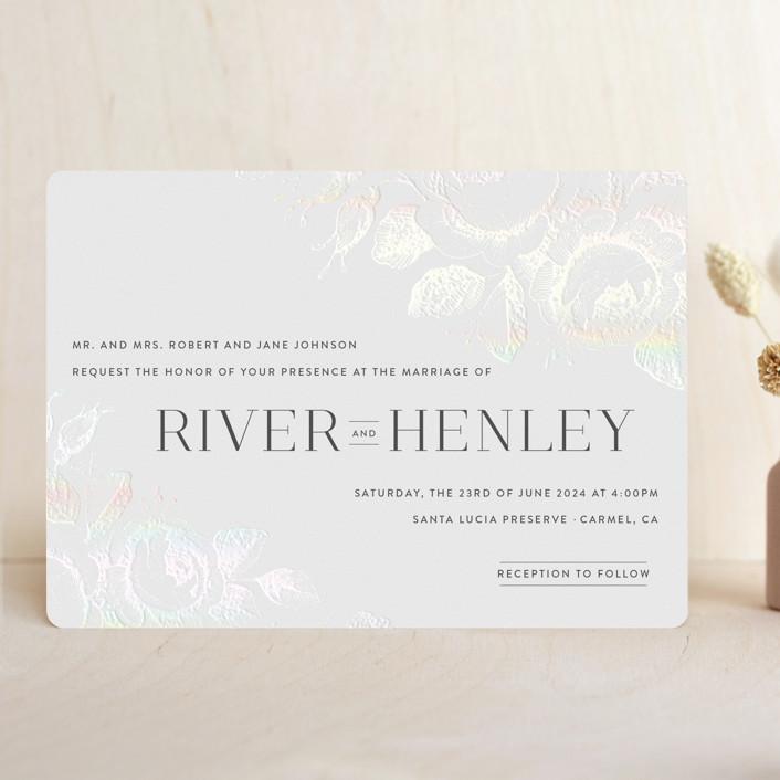 """Beloved"" - Gloss-press® Wedding Invitation in Snow by Design Lotus."