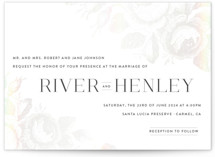 This is a white gloss press wedding invitation by Design Lotus called Beloved with gloss-press printing on signature in standard.