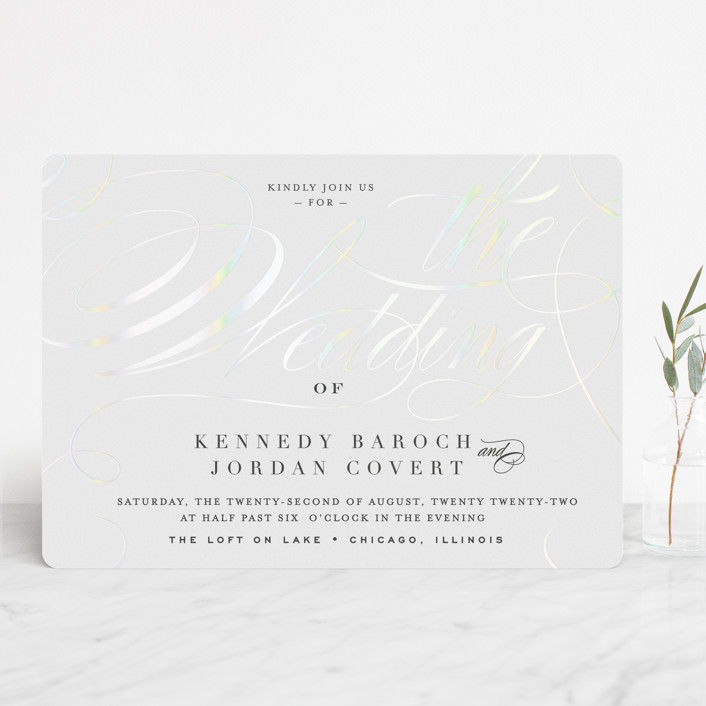 """""""Filigree"""" - Gloss-press™ Wedding Invitation in Snow by Carrie ONeal."""