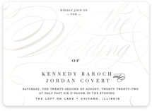 This is a black and white gloss press wedding invitation by Carrie ONeal called Filigree with gloss-press printing on signature in standard.