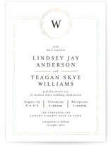This is a white gloss press wedding invitation by Phrosne Ras called Little Wreath with gloss-press printing on signature in standard.