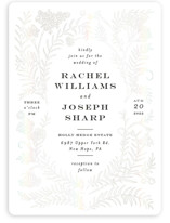 This is a white gloss press wedding invitation by Shiny Penny Studio called Lacy Meadow Ovals with gloss-press printing on signature in standard.