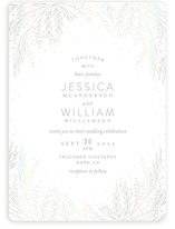 This is a brown gloss press wedding invitation by Phrosne Ras called Botanical Filigree with gloss-press printing on signature in standard.