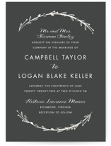 This is a grey gloss press wedding invitation by carly reed walker called Mulberry with gloss-press printing on signature in standard.