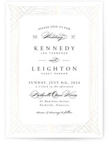 This is a white gloss press wedding invitation by Hooray Creative called Opulent Border with gloss-press printing on signature in standard.