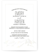This is a grey gloss press wedding invitation by Rebecca Daublin called Mountain Vista with gloss-press printing on signature in standard.