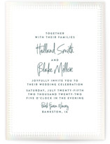 This is a blue gloss press wedding invitation by Carolyn Nicks called trinkets with gloss-press printing on signature in standard.