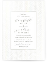 This is a white gloss press wedding invitation by Carolyn Nicks called elegant herringbone with gloss-press printing on signature in standard.