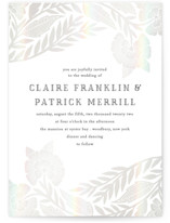 This is a grey gloss press wedding invitation by Katharine Watson called Block Printed Border with gloss-press printing on signature in standard.