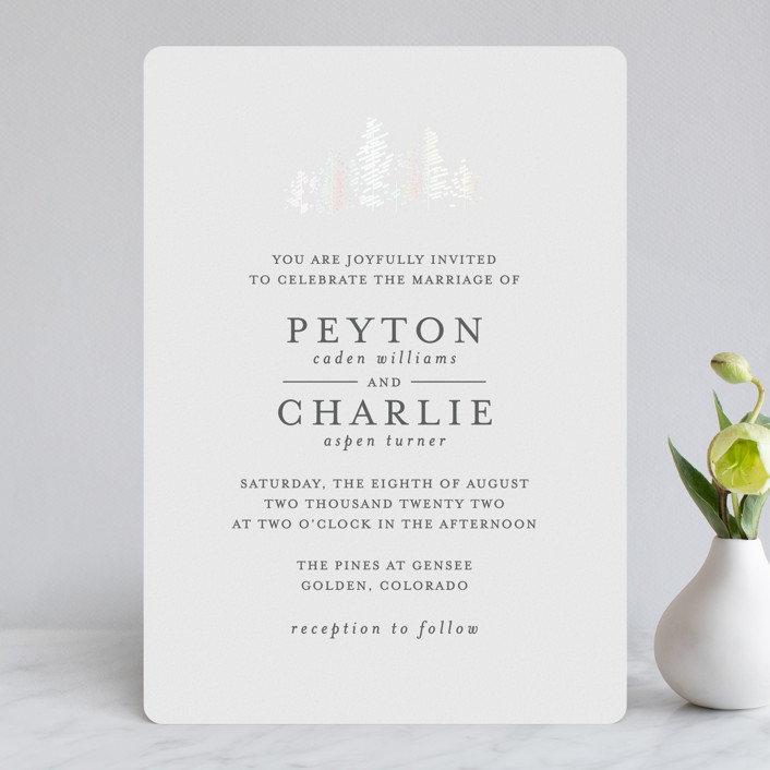 """Golden Pines"" - Gloss-press™ Wedding Invitation in Ivory by Bethan."