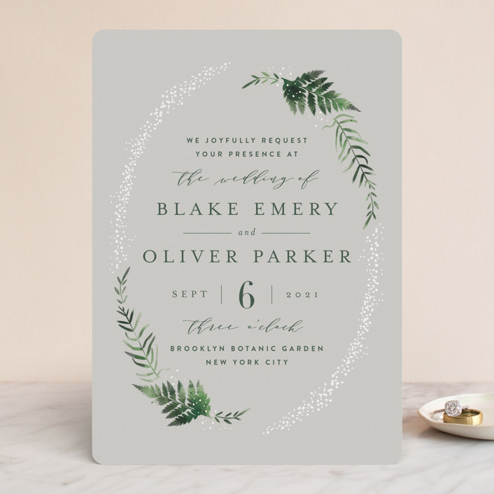 """Sparkling Ferns"" - Rustic Gloss-press™ Wedding Invitation in Dew by Kristie Kern."