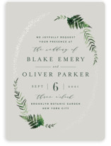 This is a grey gloss press wedding invitation by Kristie Kern called Sparkling Ferns with gloss-press printing on signature in standard.