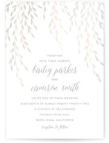 This is a white gloss press wedding invitation by Anupama called Foil Foliage with gloss-press printing on signature in standard.
