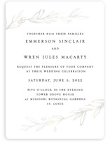 This is a white gloss press wedding invitation by Mere Paper called Metallic Branches with gloss-press printing on signature in standard.