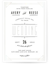 This is a black and white gloss press wedding invitation by Kelly Schmidt called Framed Deco Elegance with gloss-press printing on signature in standard.