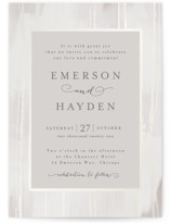 This is a grey gloss press wedding invitation by Melanie Severin called Gilded Woodgrain with gloss-press printing on signature in standard.