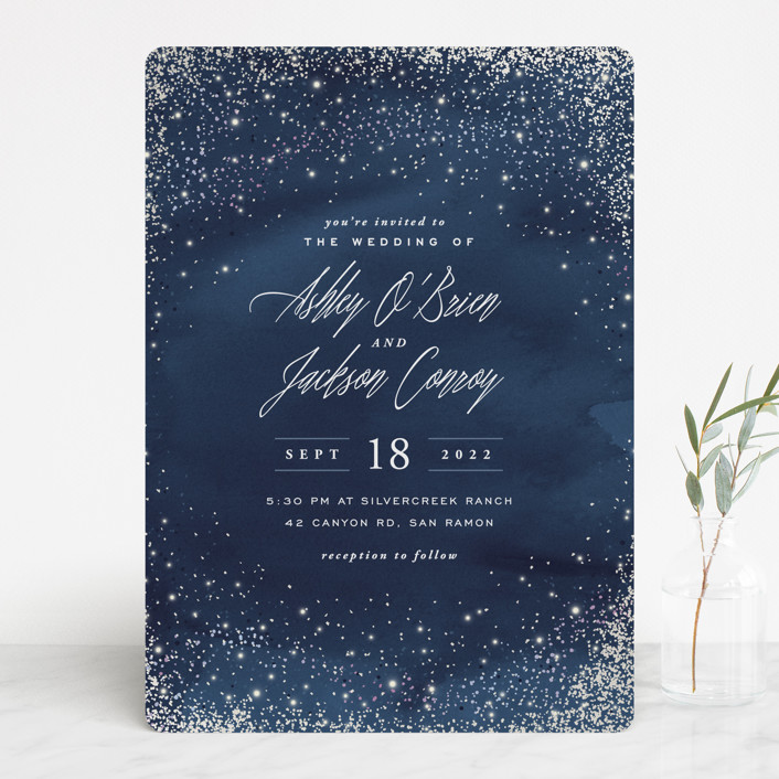 """Sparkling Night Sky"" - Bohemian Gloss-press™ Wedding Invitation in Midnight by Hooray Creative."