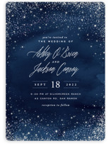 This is a blue gloss press wedding invitation by Hooray Creative called Sparkling Night Sky with gloss-press printing on signature in standard.