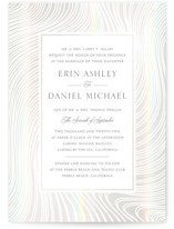 This is a white gloss press wedding invitation by Erin Deegan called Lined with gloss-press printing on signature in standard.